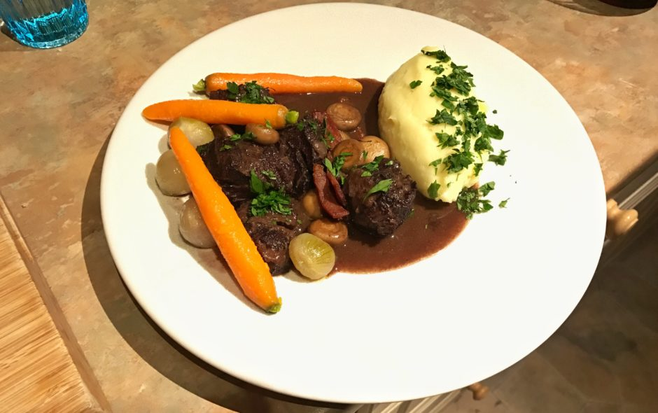 Beef cheeks braised in red wine
